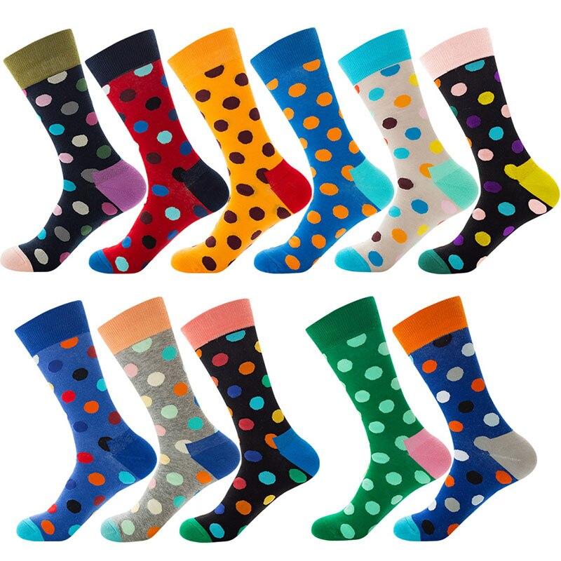 2019 New Fashion Men's Color Business Socks Polka Dot Style Novelty Cotton Socks 1 Pair 11 Colors Winter Men Hip Hop Crew Socks