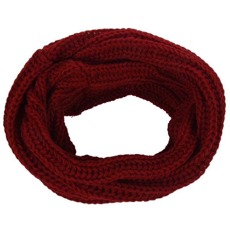 Men Women Woolen Knit Winter Warm Cowl Neck Infinity Circle Scarf Shawl Xmas Gift Wine Red