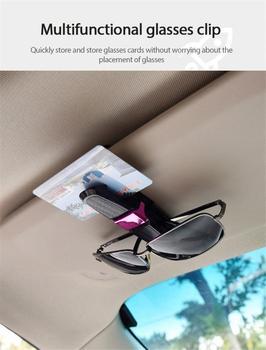 Samochód zacisk do okularów przenośny klamra na karty i okulary osłona przeciwsłoneczna do samochodu uchwyt na okulary przeciwsłoneczne klips do okularów zacisk do okularów akcesoria samochodowe tanie i dobre opinie CAR-partment CN (pochodzenie) Decoration 2 5cm SD-1305 10cm Black Silver Red Gold Glasses Case Sunglasses Holder Clip Auto Fastener Cip
