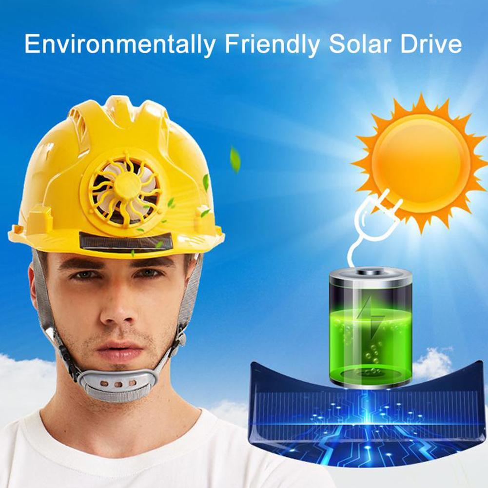 Solar Power Fan Safety Hard Hat Construction Workplace ABS Material Protective Cap Powered By Solar Panel Helmet Outdoor Working