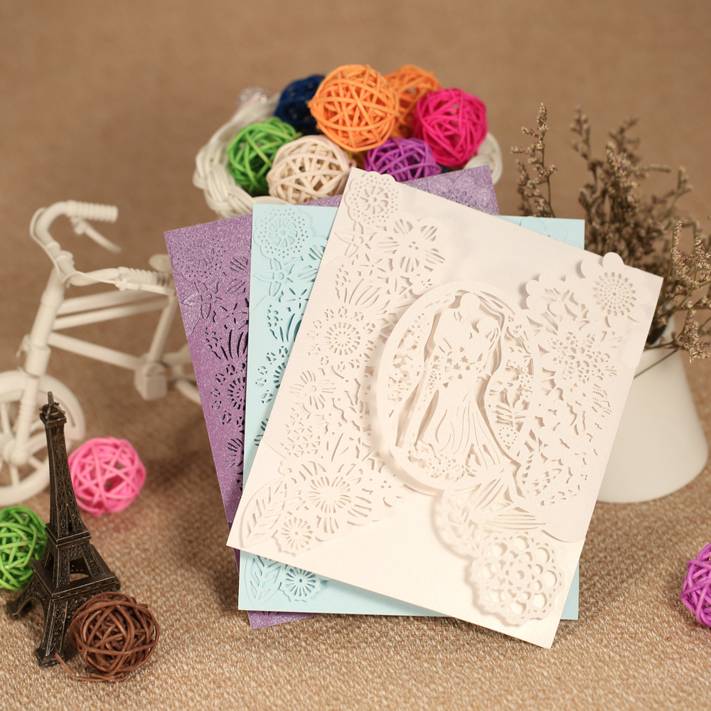 20pcs Romantic Laser Cut Wedding Invitation Card Groom Bride Carved Pattern Wedding Card Hollow Out Wedding Banquet Party Supply