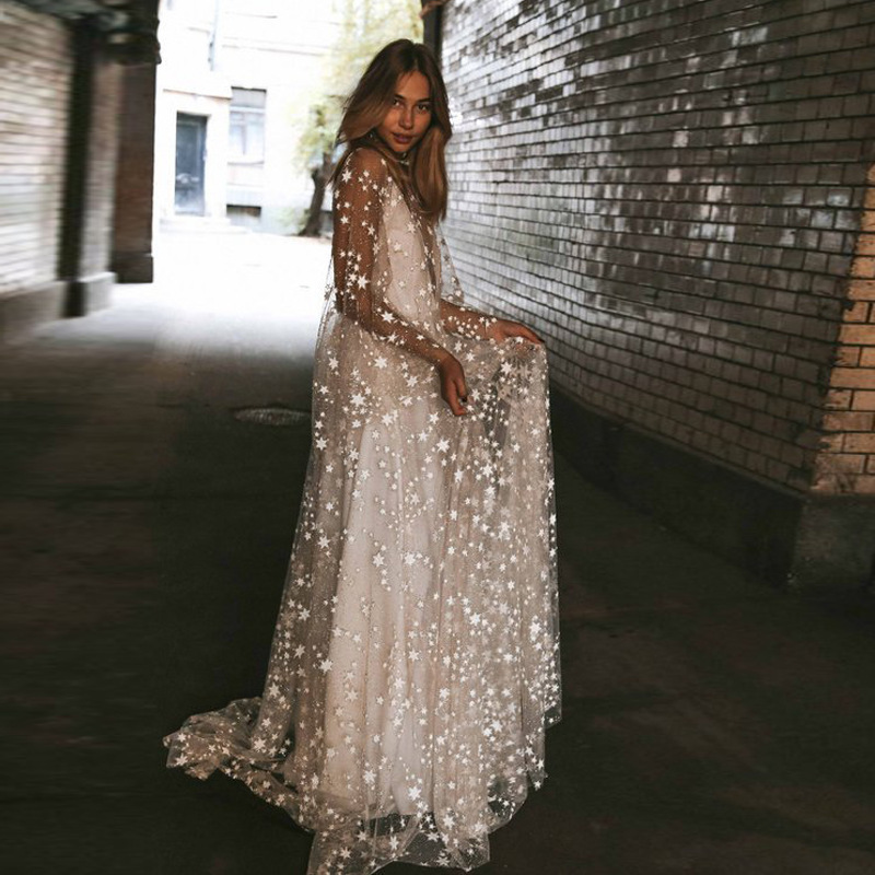 Shining Stars Sparlking Gilding Illsion Tulle Open Back Long Evening Dress For Wedding Evening Formal Party Robe Ceremonie Femme