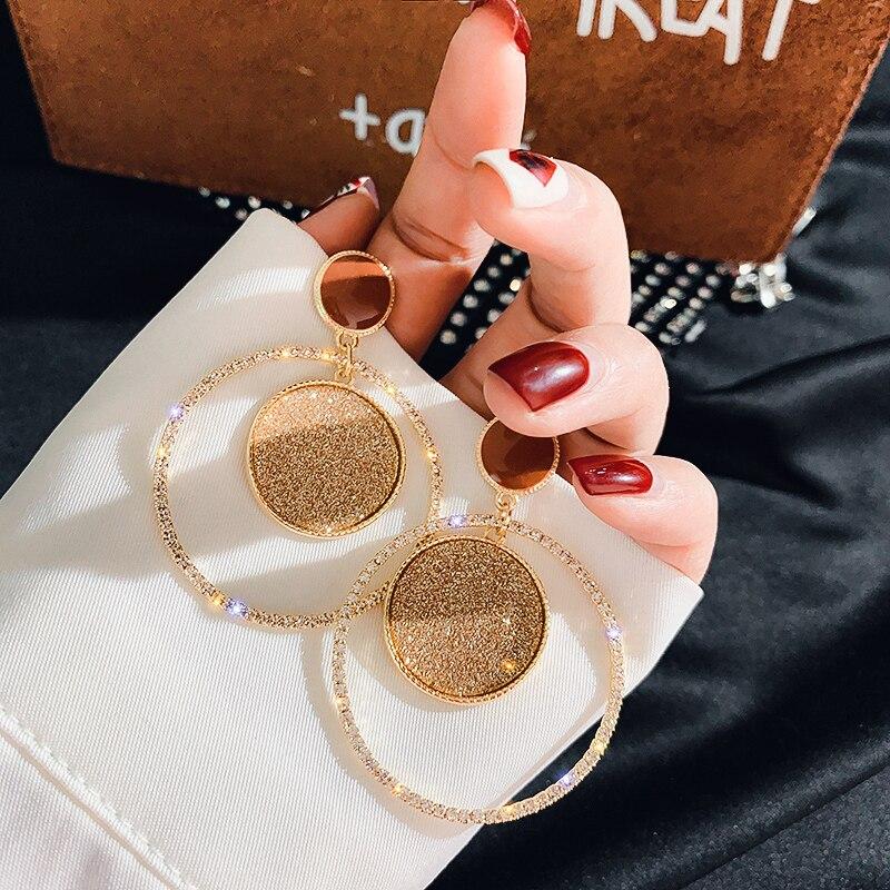 VCORM Fashion Luxury Rhinestone Heart Drop Earrings Shining Crystal Earring for Women Gold Silver Color Bridal Earrings Jewelry