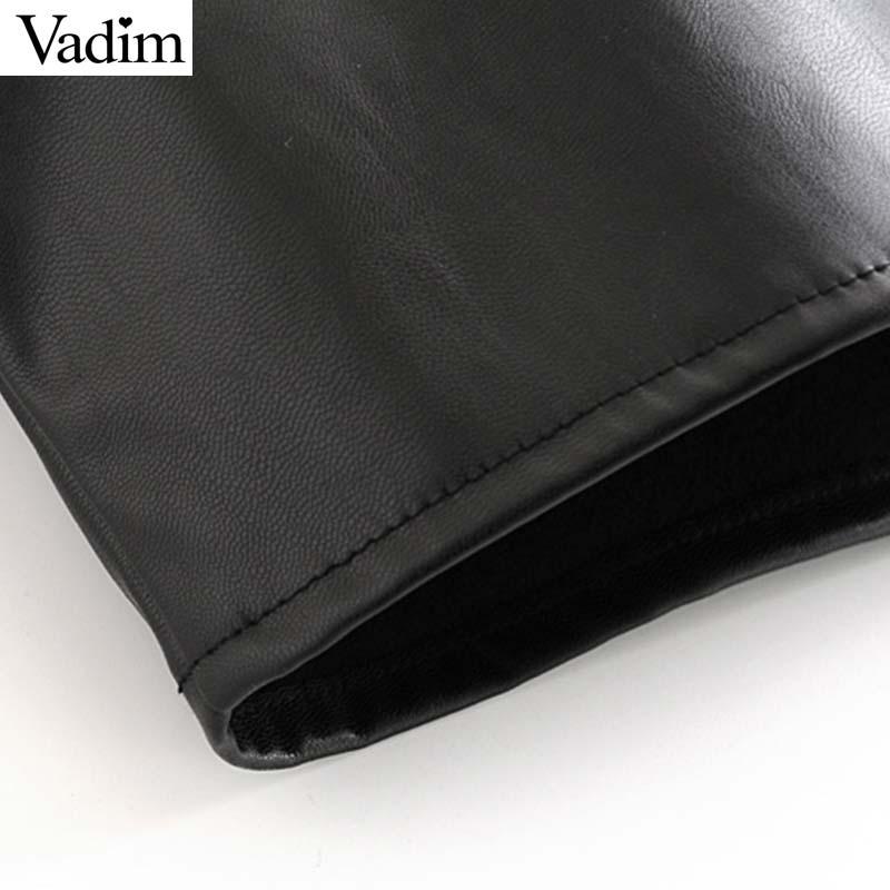 Image 5 - Vadim women chic black PU leather blouse pocket decorate long sleeve turn down collar shirt female stylish casual tops LB573Blouses & Shirts   -