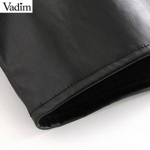 Image 5 - Vadim women chic black PU leather blouse pocket decorate long sleeve turn down collar shirt female stylish casual tops LB573