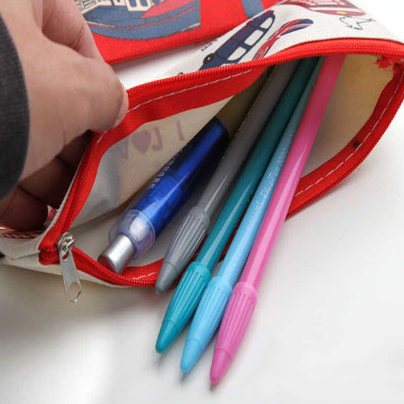 1 pçs/lote dos desenhos animados eu amo londres lápis bolsa londres soldado papelaria criativa para a escola escritórios suprimentos crianças lápis bolsa