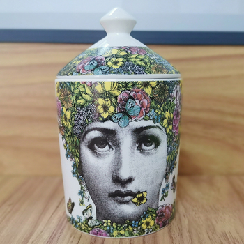 Lady Face Jar DIY Empty Candle Holder Beauty Dressing Brush Pen Box with Lid Ceramic Storage Tin Flower and Bottle 19