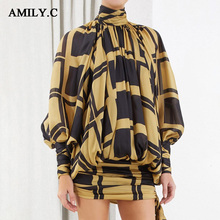 2020 Fall Fashion New Womens Bow Plaid Dress Turtleneck Lantern Long Sleeve High Waist Mini Dress Female