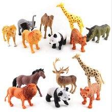 لعبة حديقة حيوان محاكية حيوانات الباندا الزرافة الحصان الأسد النمر الفيل المراعي نموذج حيوانات بلاستيكية لعب للأطفالzoo animals toysmodel toytoys for