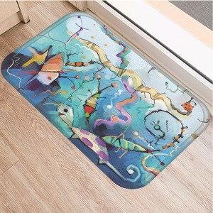 Image 4 - Hand painted Cartoon Pattern Non slip Mat Bedroom Hotel Decorative Carpet Kitchen Floor Home Living Room Floor Mat Bathroom Mat.