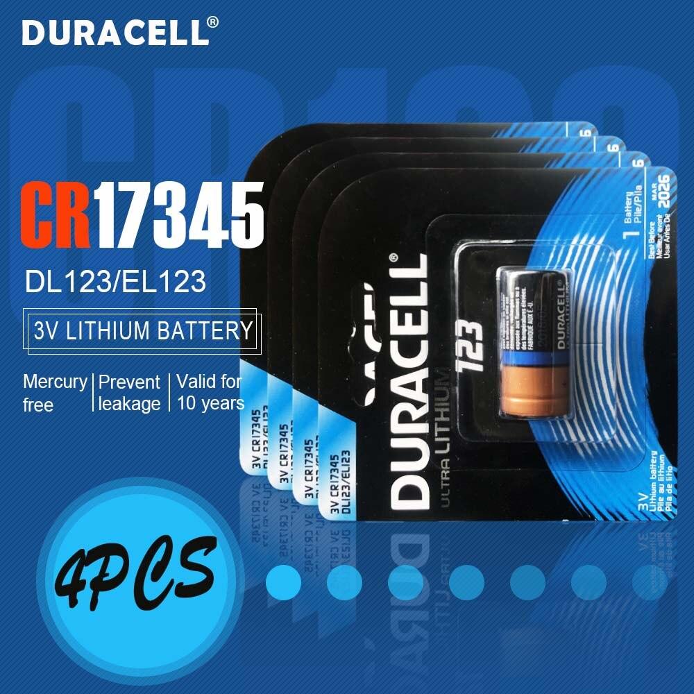 4 sztuk nowy oryginalny DURACELL 3v 1550mah bateria litowa CR123 CR123A CR17345 16340 CR 123A suche komórki pierwotne dla latarka kamery