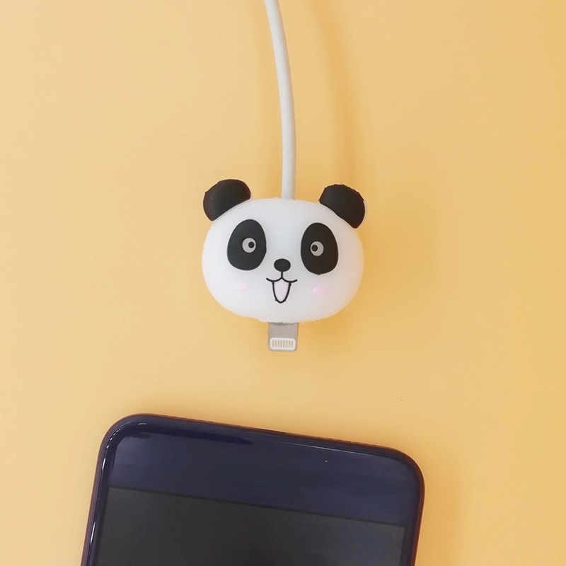 Hot Lucu Kartun Animel Pelindung Kabel untuk iPhone Kabel USB Chompers Pemegang Charger Kawat Organizer Aksesoris