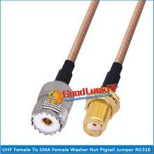 1x pces pl259 so239 PL-259 so-239 uhf fêmea para sma arruela fêmea o-ring anteparo montagem porca coaxial trança jumper cabo rg316