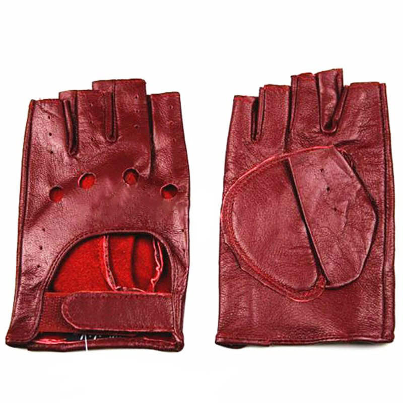 Half Finger Gloves Women's Leather Thin Fashion Hollow Style Color Sheepskin Short Outdoor Motorcycle Riding Locomotive Driving