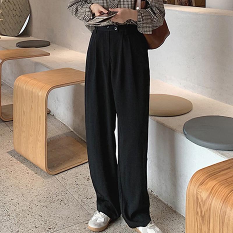 Hef776ed3283c4708ba88a0d26547d3acb - Spring / Autumn Korean Buttons Zipper Pockets Solid Pants