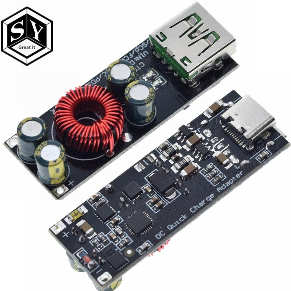 Адаптер быстрой зарядки QC4.0 QC3.0 USB Type-C, понижающий модуль повышения мощности 6 -35 В для Huawei SCP/FCP Apple PD Qualcomm