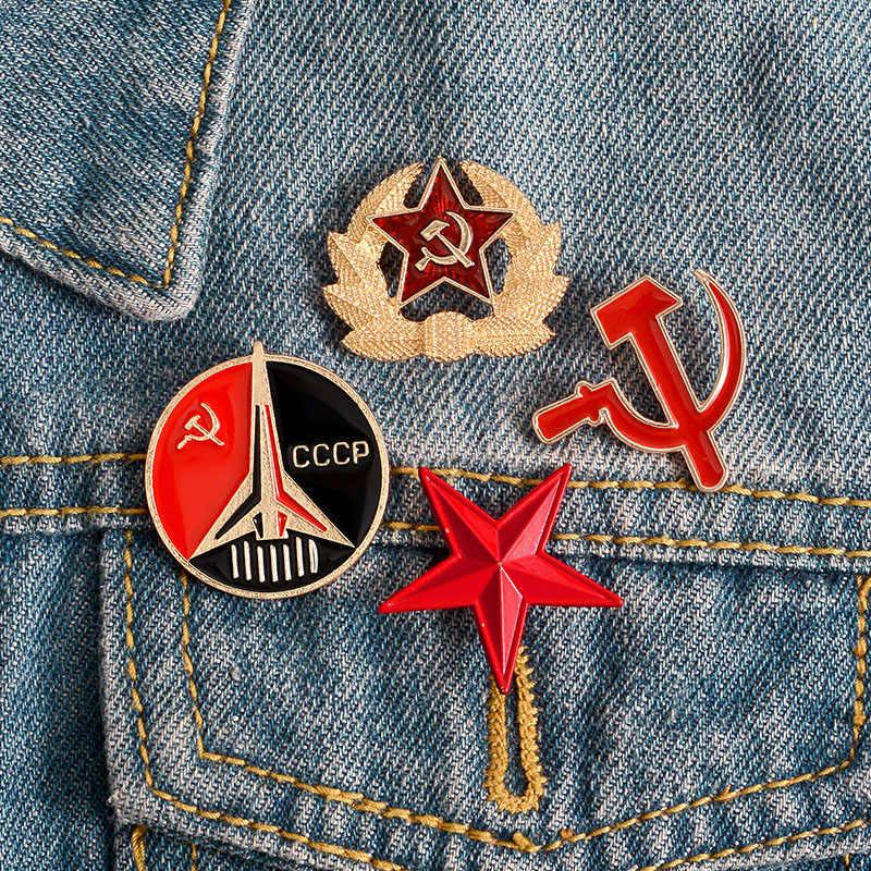 Vintage Uni Soviet Simbol Bros dan Enamel Pin Bintang Merah Sabit Hammer Perang Dingin Soviet Pro Kitty Kerah Pin Lencana