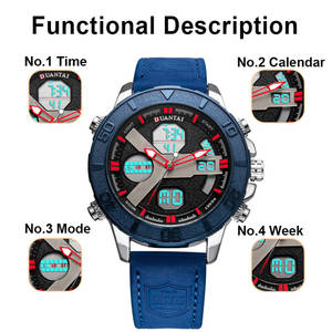 Image 4 - DUANTAI Mens Sports Watches Dual Time Zone Luxury Watch Men Leather Deployment Buckle Ourdoor Waterproof 3AM
