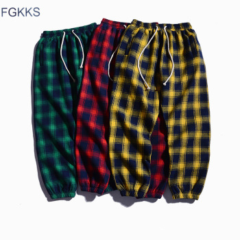 FGKKS Men Plaid Pants Autumn Men's Trousers High Street Style Male Personality Elastic Casual Pencil Pants Uncategorized Fashion & Designs Men's Fashion