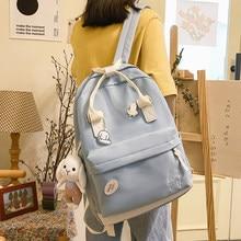 EST New Multi-Functional Women Backpack Kawaii Rabbit Waterproof Nylon Solid Color Shoulders Female Bags Mochilas Girls School
