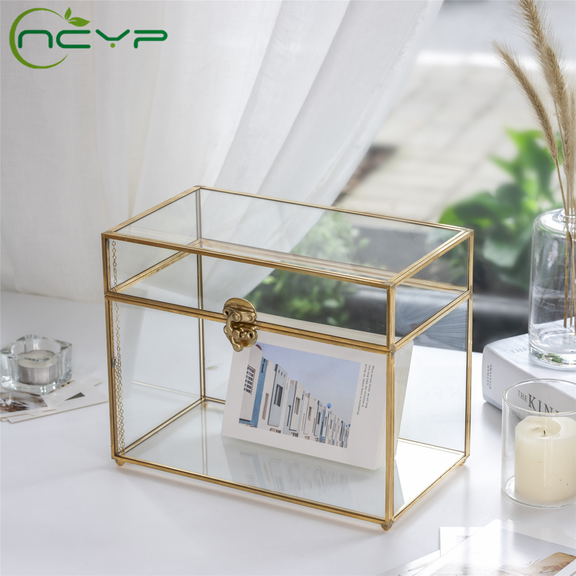 NCYP Gold Rectangle Wedding Glass Card Box Gift Organizer Terrarium Containers Celebration Home Party Wedding Card Box