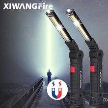 Linterna LED COB portátil con batería integrada, linterna de Camping recargable por USB, luz de trabajo magnética, lámpara colgante