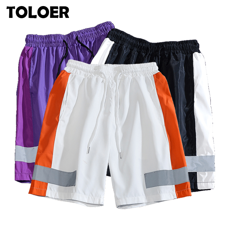 Fashion Summer Shorts Men New 3M Reflective Strip Trend Shorts Casual Brand Straight Drawstring Shorts Male Hip Hop Streetwear