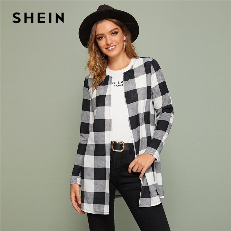 SHEIN Multicolor Plaid Print Open Front Casual Coat Women Outwear Spring Long Sleeve O-neck Office Ladies Basic Long Coats