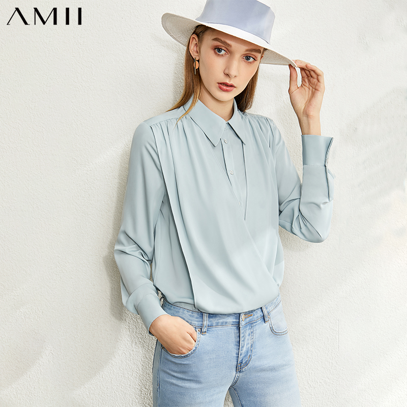 Amii Minimalist Spring Chiffon Blouse Women  Elegant Single-breasted Solid Trun-down Collar Female Shirt Tops 12080016