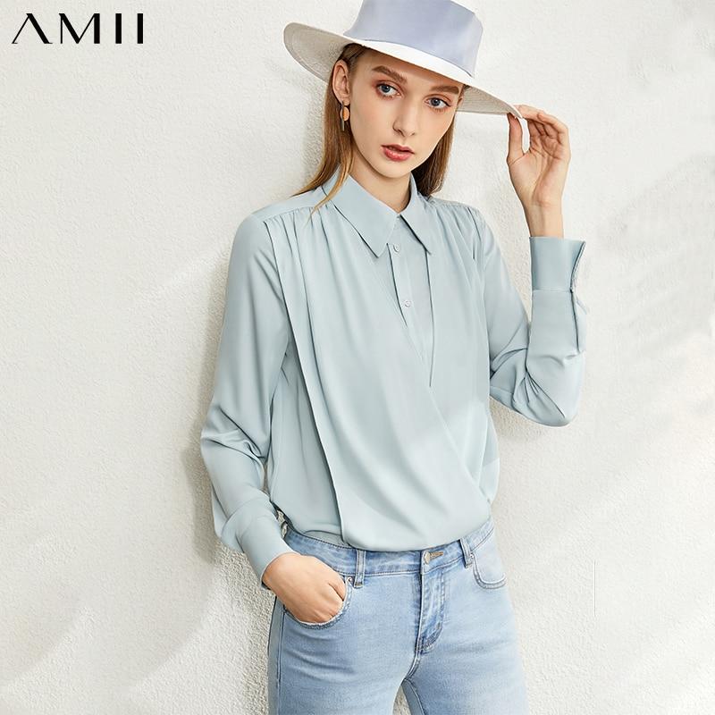 Amii Minimalist Spring Chiffon Blouse Women  Elegant Single-breasted Solid Trun-down Collar Female Shirt Tops 12080016