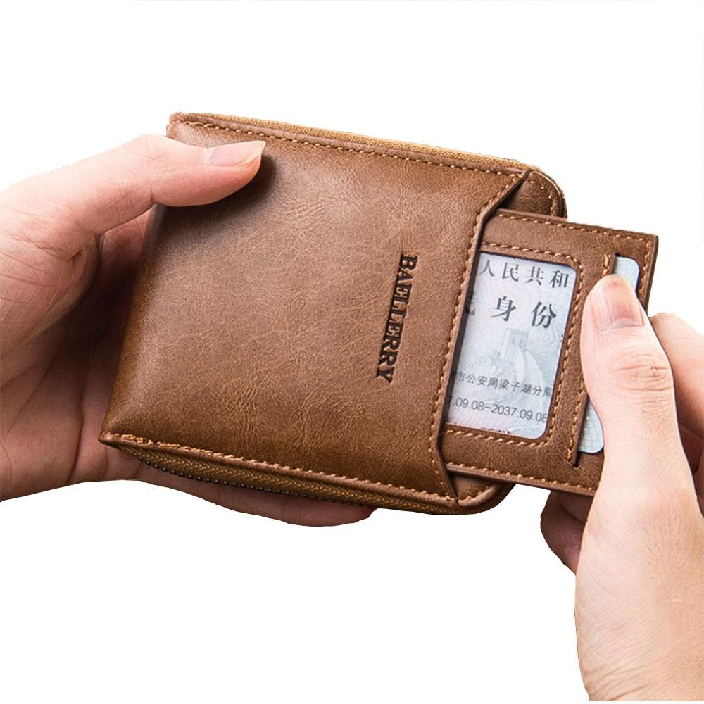 Men's Luxury Purse Wallet Holder Faux Leather Men Zipper Vintage Pu Solid Square Credit Card Join Pocket Uomo Porte Coin Money
