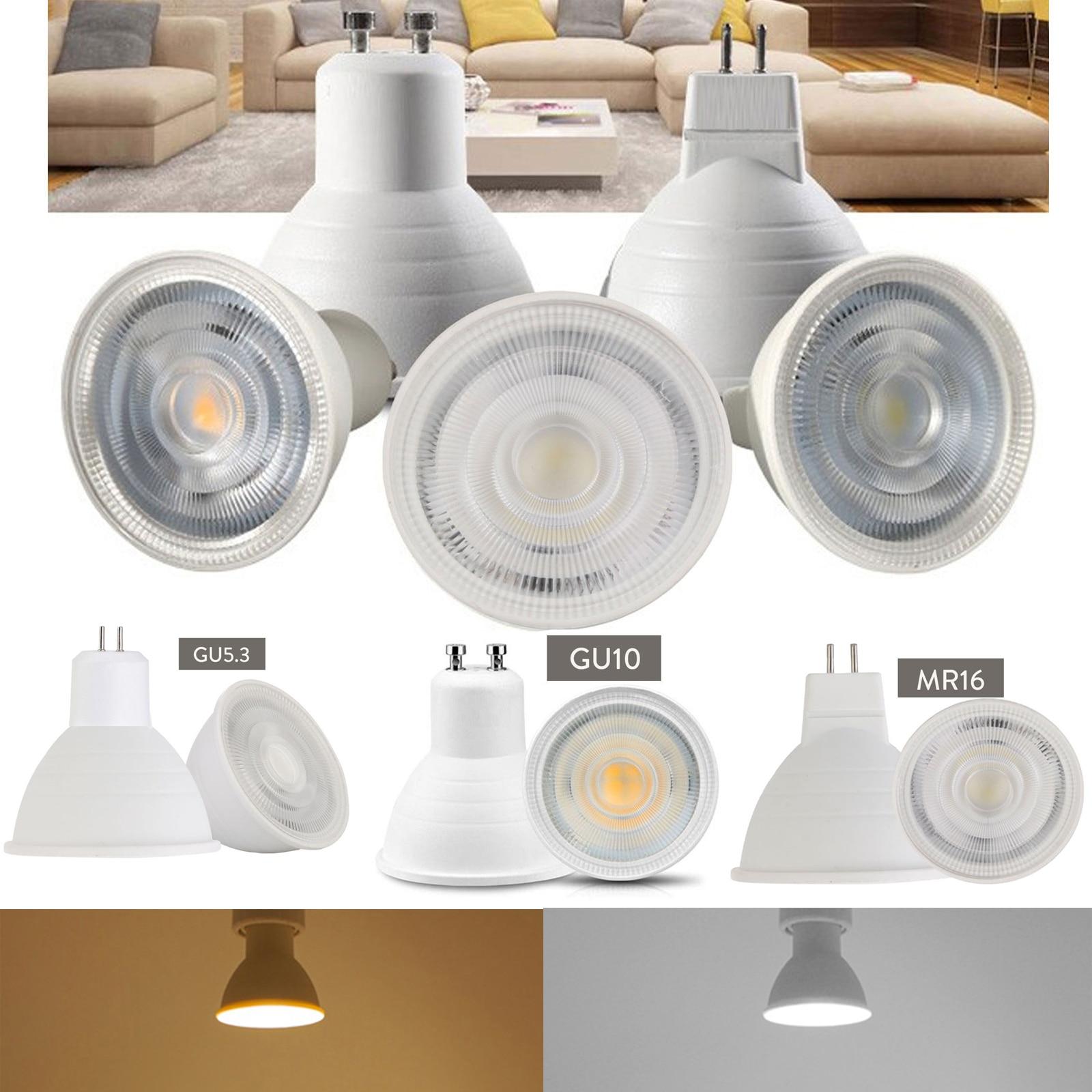 Dimmable GU10 MR16 GU5.3 LED Spotlight 7W AC 220V 110V COB Light Bulbs 30° Beam Angle For Downlight Table Lamp Cool Warm White