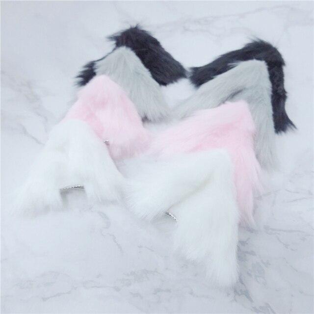 Handmade Anime Neko kostium klips do włosów Lolita Cosplay Party kot Fox futerka uszy piękny nocna impreza klub Bar udekoruj prezent Anime peruka