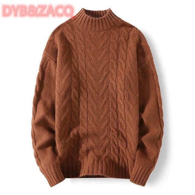 Мужской трикотажный свитер с круглым вырезом и длинным рукавом 3