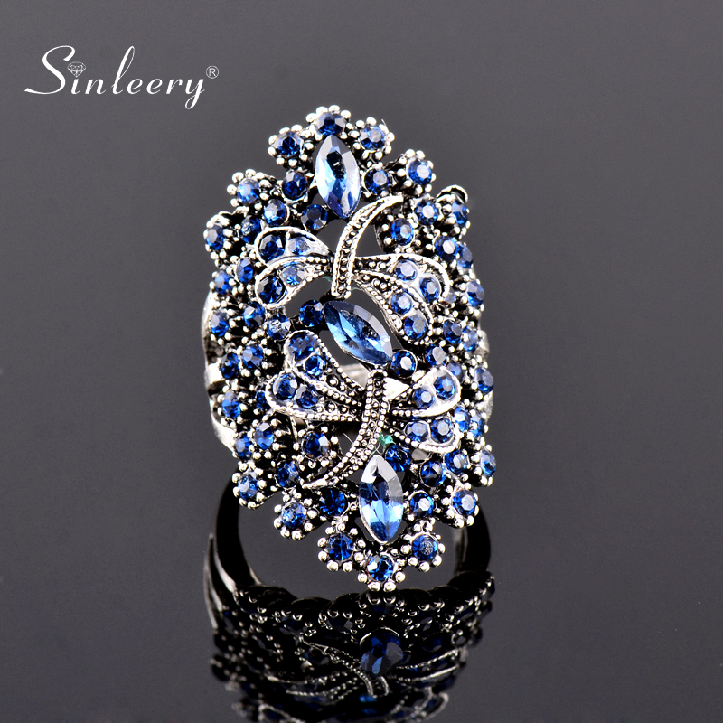SINLEERY Vintage Big Hollow Blue Rhinestone Dragonfly Rings Women Antique Silver Color Wedding Party Jewelry JZ565 SSC(China)