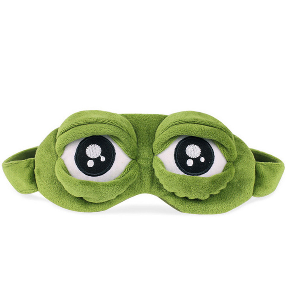 6 Cute Eyes Mask Cover Plush The Sad 3D Frog Green Eye Mask Cover Relax Sleeping Rest Travel Sleep Anime Funny  Beauty Goggles