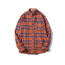 2019 New Orange Plaid Shirt Long Sleeve Loose Street Harbor Style Hip Hop Trends Men and Women Tops Campus Coats Cotton 50CS стоимость