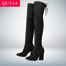 QUTAA г. Новые женские ботфорты из флока пикантная Осенняя женская обувь на высоком каблуке со шнуровкой зимние женские сапоги размер 34-43