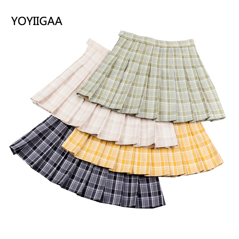 Fashion Plaid A-Line Skirts Mini High Waist Chic Skirt Harajuku  A-line Sailor Skirt Summer   Casual Ladies Plaid Pleated Skirts