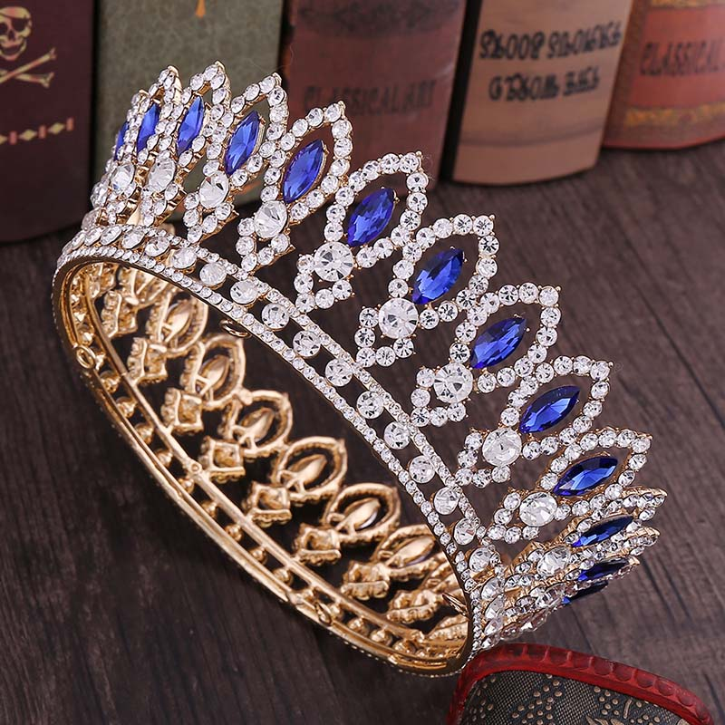 Image 3 - High Fashion Full Round Baroque Gold Blue Crystal Royal Princess Queen Diadem Tiaras Crowns for Bridal Bride Wedding PartyHair Jewelry   -