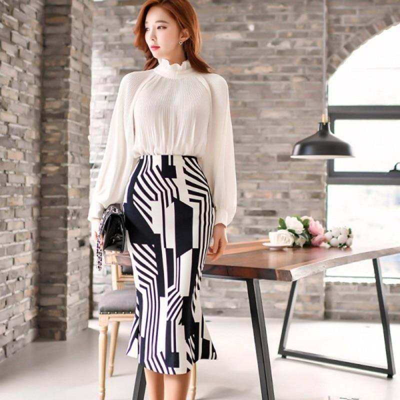 2020 Spring Fashion Office Lady 2 Piece Set Women White Chiffon Lantern Sleeve Draped Shirt + Work Stripe Split Pencil Skirt Set