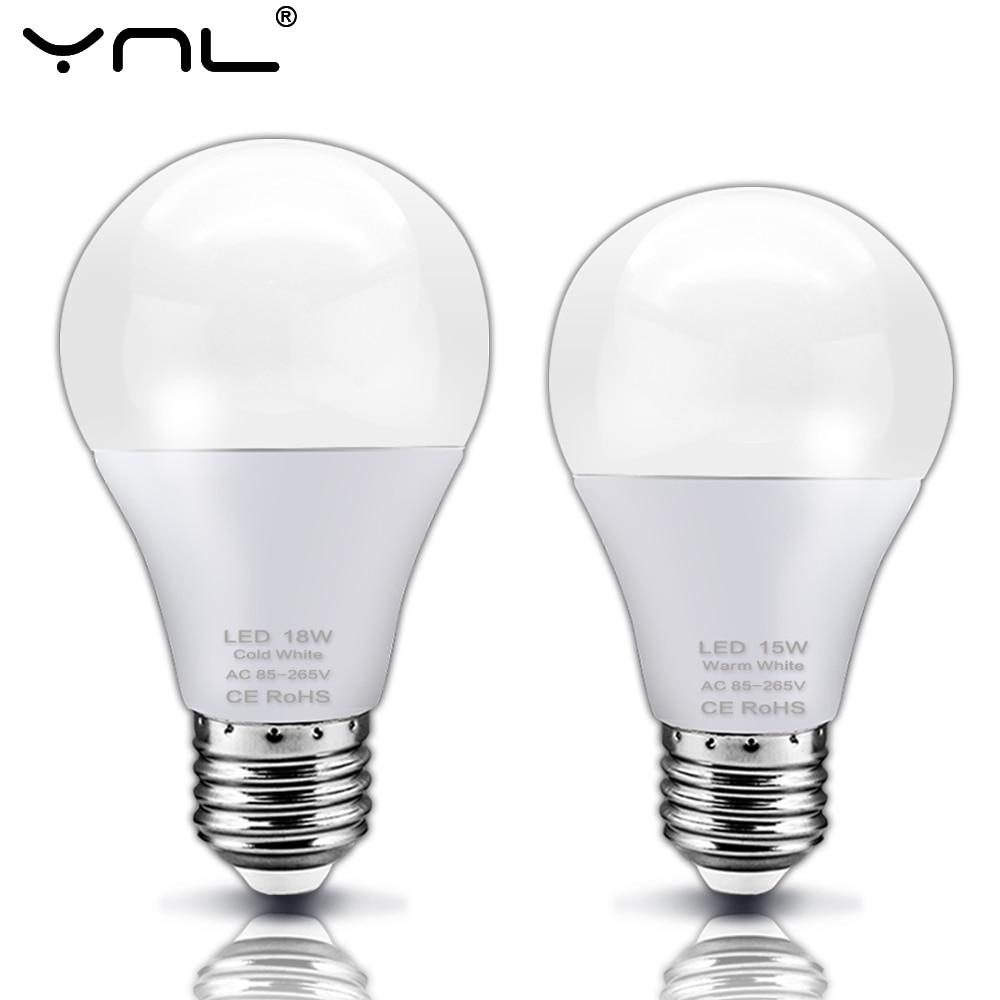 E27 LED Lamp Bulb AC 220V 240V Real Power 3W 6W 9W 12W 15W 18W High Brightness LED Light Bulb For Table Lamp Spotlight