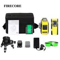 FIRECORE 360 레이저 레벨 3D 12 라인 자동 셀프 레벨링 빨간색 녹색 레이저 (수신기/브래킷/3M 삼각대 포함)