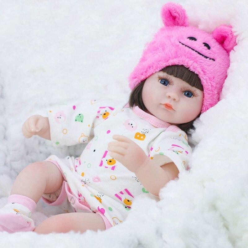 Кукла реборн 42 см, сопровождающая кукла для девочек, Реалистичная с синими глазами, подарок на день рождения