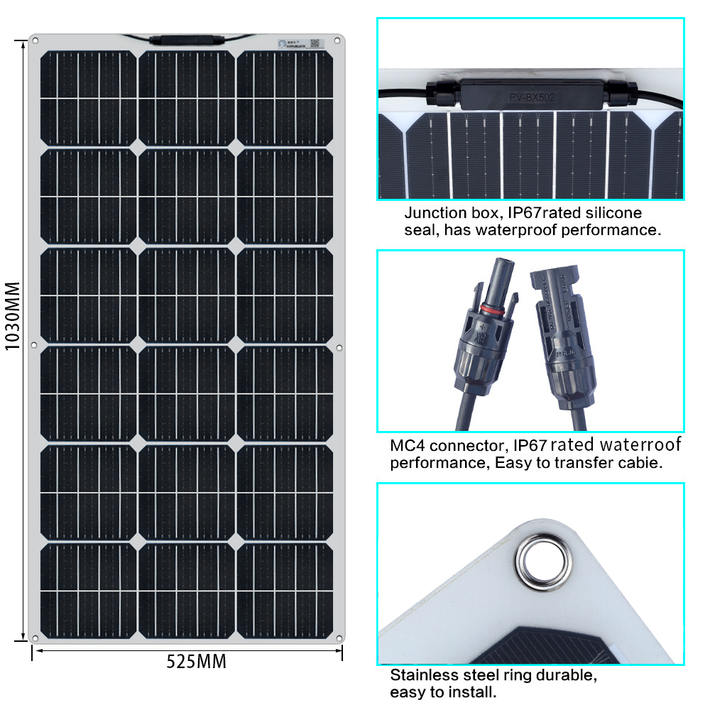 100 Watt 12 Volt Extremely Flexible Monocrystalline Solar Panel 18v 100w (3)