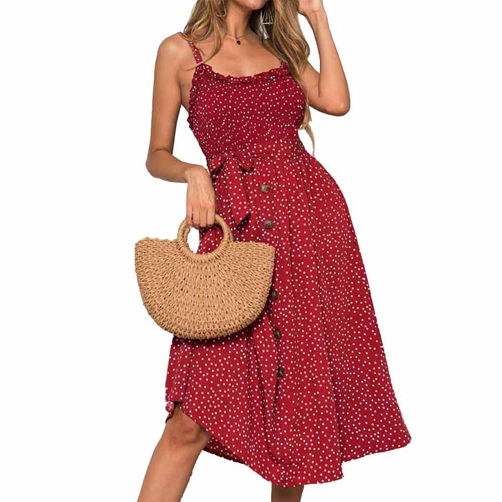 Sexy Summer Dress Women Bow Button Sleeveless Spaghetti Strap Loose Pleated Polka Dot Casual Long Beach Backless Vestidos 2020