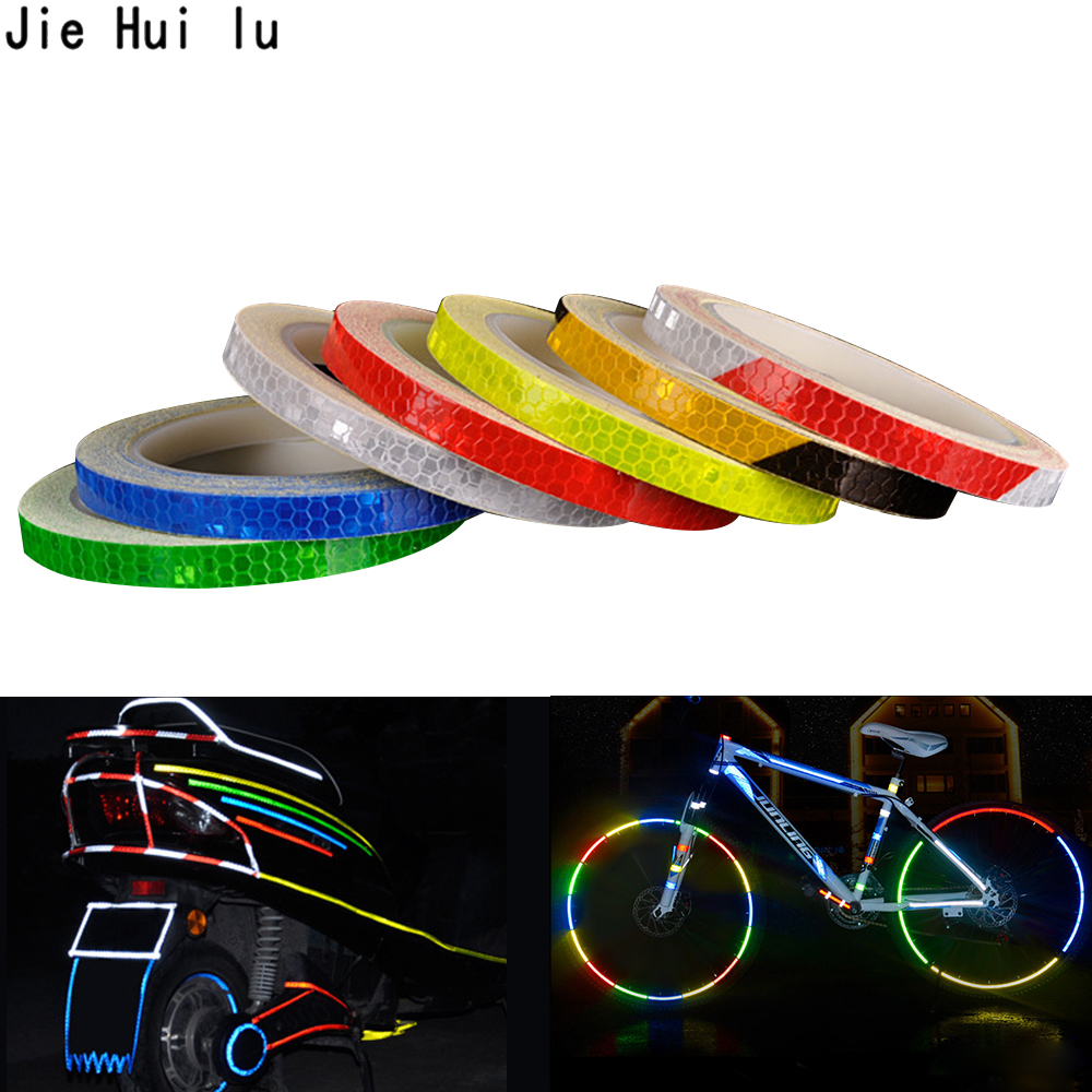 Motorcycle Bicycle Reflector Security Wheel Rim Decal Tape Reflective Stickers.