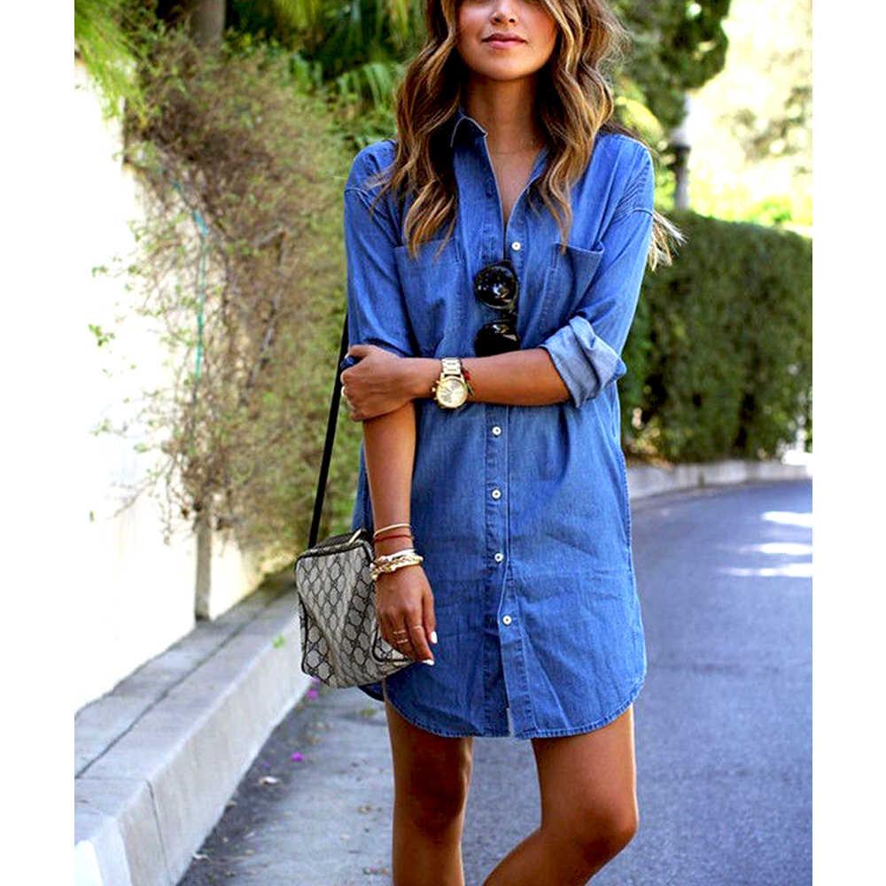 Hirigin Delle Donne di Autunno Breve Solid Turn Imbottiture Collo Pulsante Blu Jeans Del Denim T-Shirt Manica Lunga Casual Slaccia la Camicia Abito Corto
