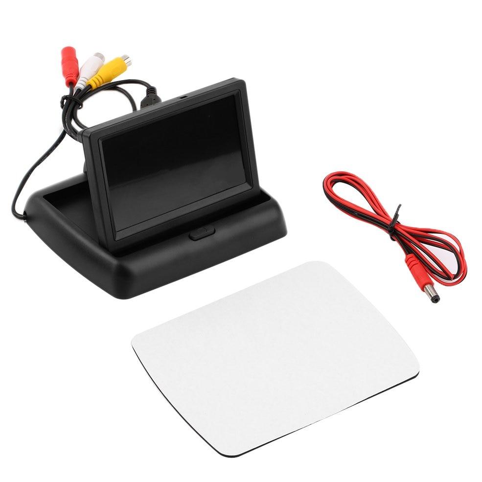 Monitor samochodowy tft lcd składany 4.3 Cal ekran do widoku z tyłu kamera DVD asystent parkowania kompatybilny z PAL/NTSC kolorowy wyświetlacz