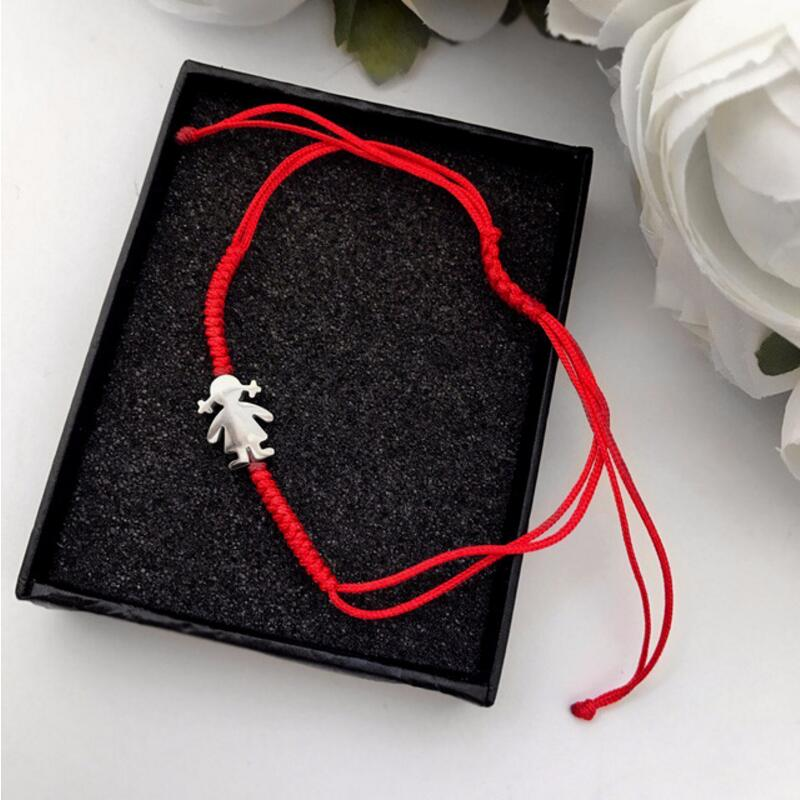 Cute Bear Stainless Steel Little Girl Red Rope Thread String Braid Adjustable Bracelets For Women Girls Lucky Bracelet Jewelry